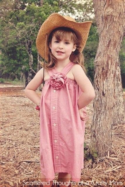 Refashion:  Men's shirt to girls adorable western-style dress!
