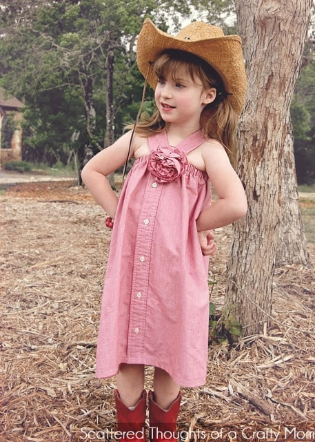 Refashion:  Men's shirt to girls adorable western-style dress!