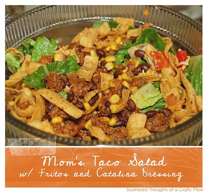Mom's Taco Salad with Fritos and Catalina Dressing. It's the best taco salad and great for potlucks!