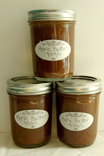 how to make homemade apple butter and can it too with this apple butter recipe and canning instructions! (Shortcut blender version.) #appebutter