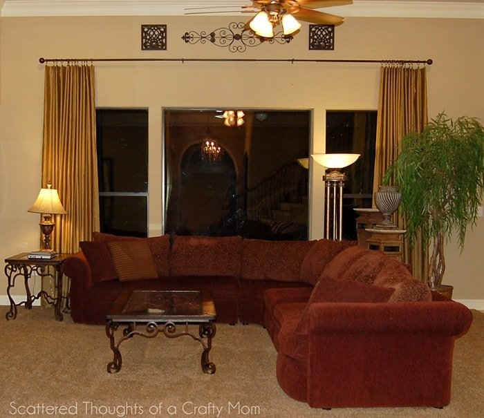 Family Room Window Treatments With A Lined Curtain Panel Tutorial