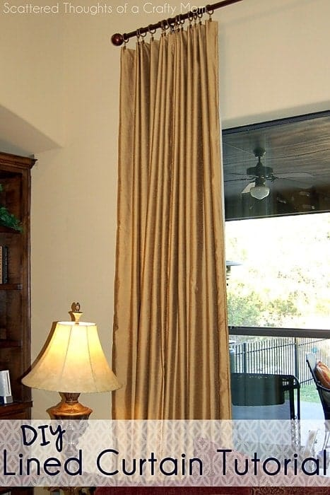 Family Room Window Treatments (with a Lined Curtain Panel Tutorial)