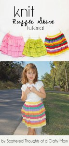 Learn how to make a knit ruffle skirt using an old xl shirt or knit yardage.