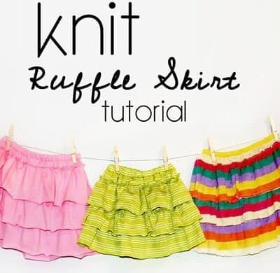 Very Easy Knit Ruffle Skirt Tutorial! A great project for someone just starting to sew with knits.  The best part is you can make the entire skirt with an extra large man's shirt!