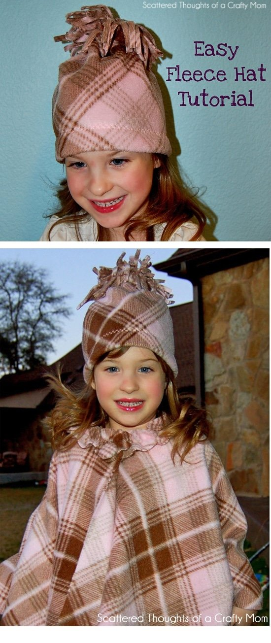 Easy Fleece Hat Tutorial. Make this easy fleece hat in about 10 minutes!