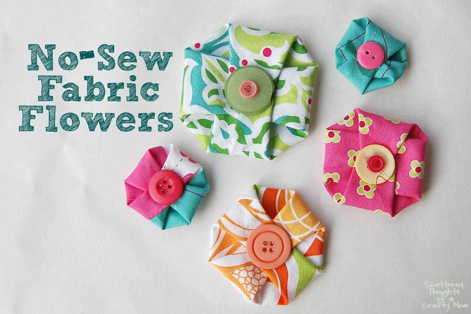 No sew fabric flowers scattered thoughts of a crafty mom by make these adorable no sew fabric flowers in in less than a minute jeuxipadfo Choice Image