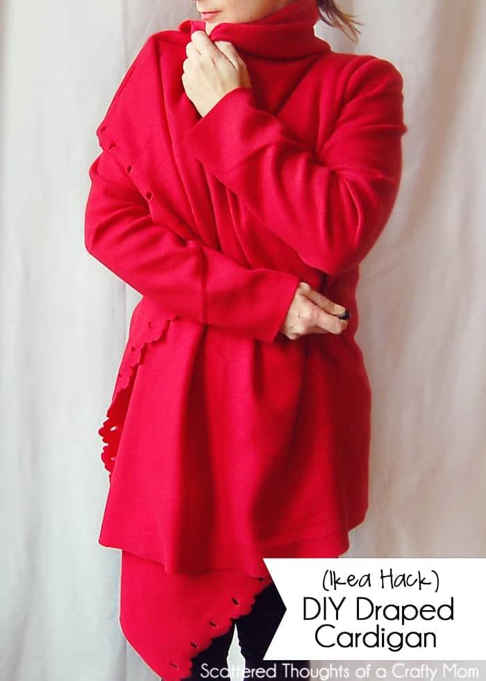 DIY Draped Cardigan Tutorial (Made with a $2.99 Ikea Fleece Blanket.) #ikeahack