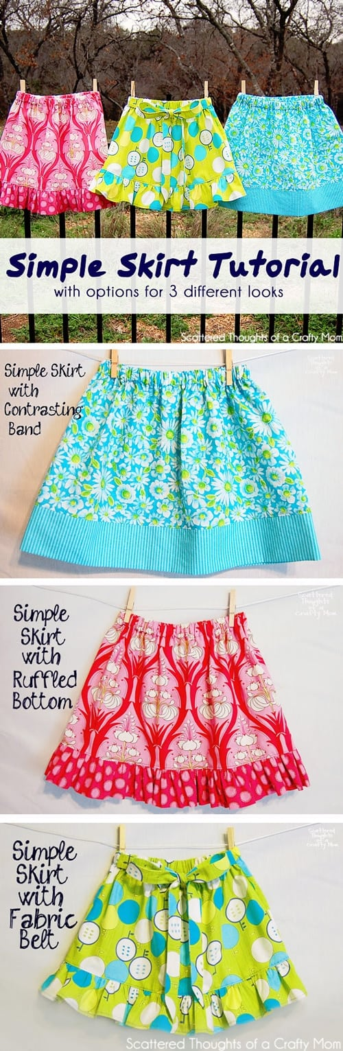 How to sew a skirt. Easy Basic Skirt tutorial, perfect for a beginner. This simple skirt tutorial has simple options for 3 different looks!