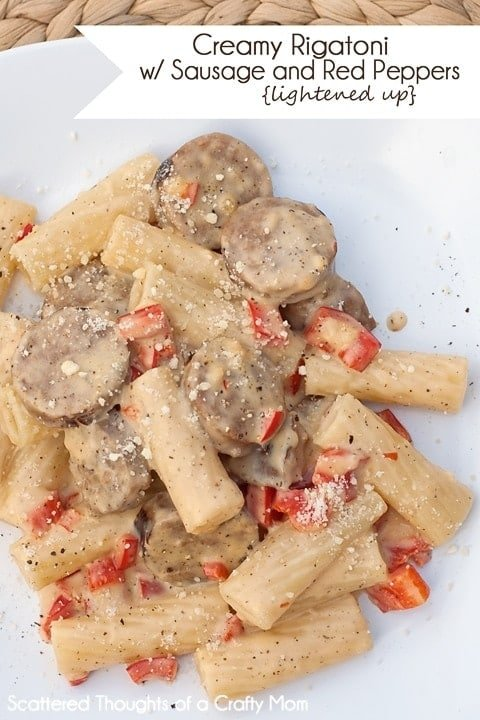 Lightened up version of Creamy Rigatoni w/ Sausage and Red Peppers.  Yum!