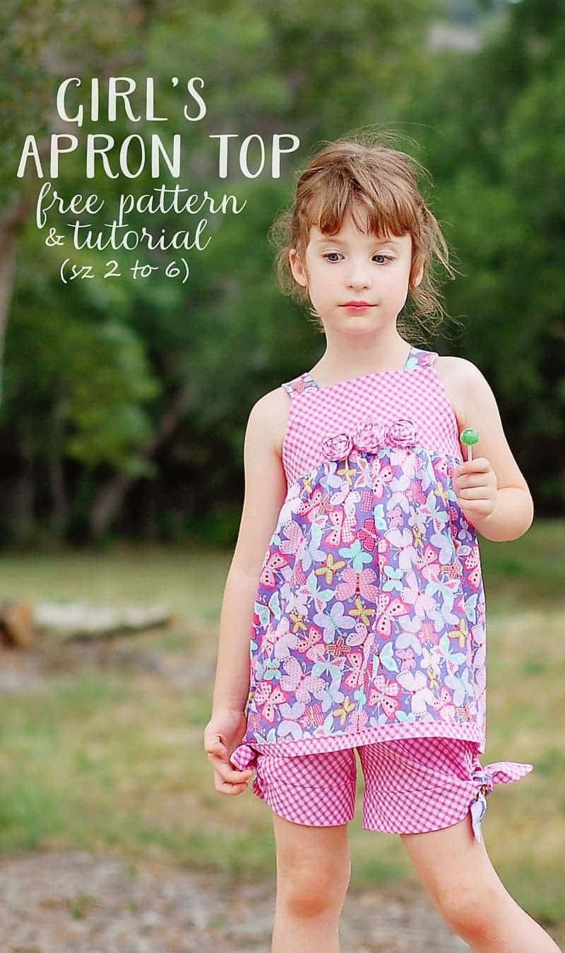 Free Girl's Apron Top Sewing Pattern & Tutorial (sz 2 to 6)