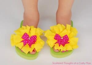 How to embellish flip flops with scrap fabric.