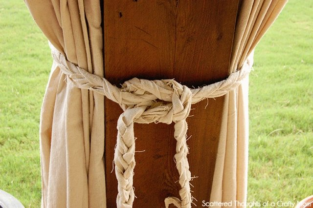 diy patio curtains from drop cloths (with no sewing) - scattered ... - Patio Curtains Ideas