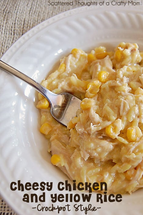 Fabulous and filling family meal in the crock pot:  Cheesy Chicken and yellow rice.  (Slow Cooker recipes.) border=