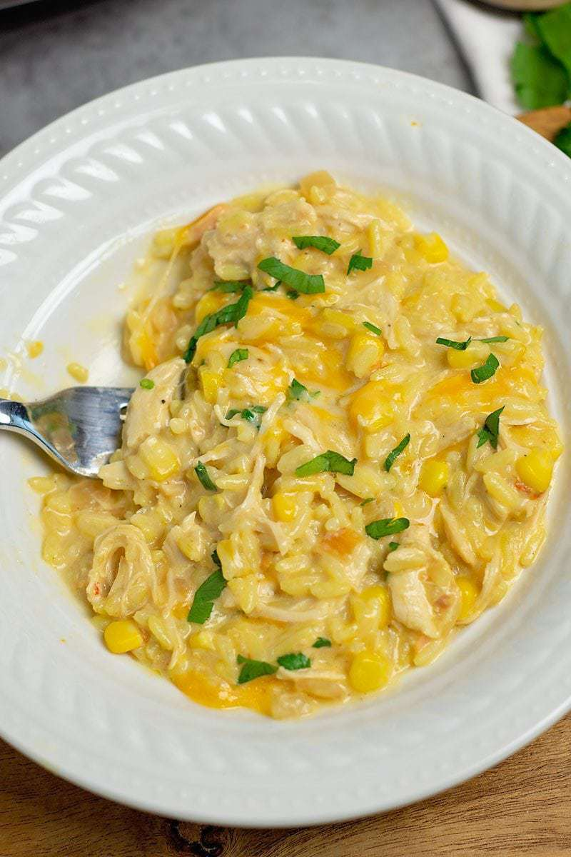 This Slow Cooker Cheesy Chicken and Yellow Recipe is a hearty and delicious family meal - even better, it's super simple to make!