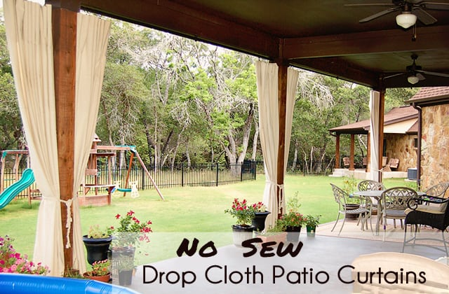Curtains Ideas curtains for screened in porch : DIY Patio Curtains from Drop Cloths (with no sewing) - Scattered ...
