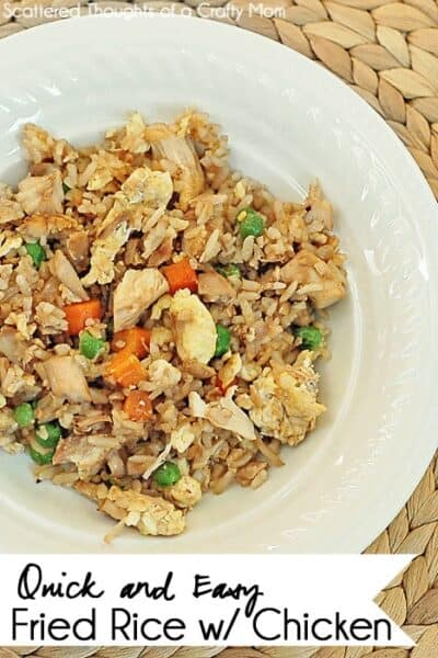 Skip the take out! If you have leftover chicken or rice, this easy Fried Rice with Chicken recipe is a quick and easy meal you can get on the table in 15 minutes.