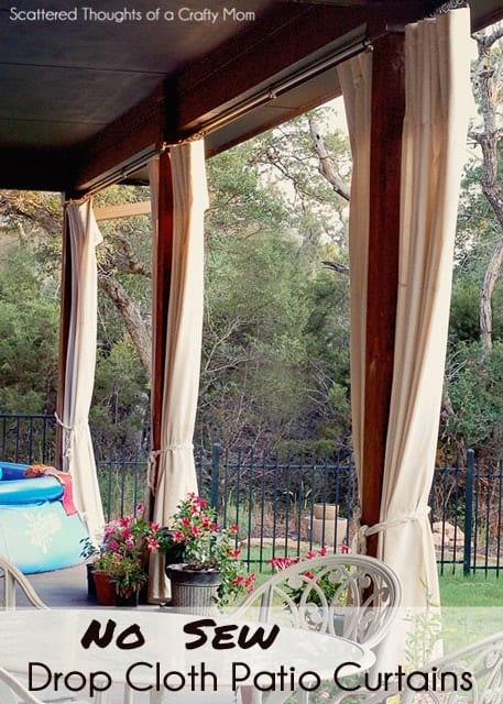 No Sew Drop Cloth Patio Curtains