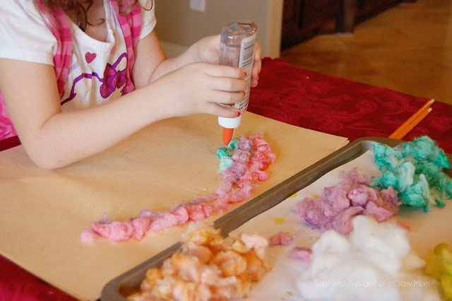 kid craft, cotton ball art