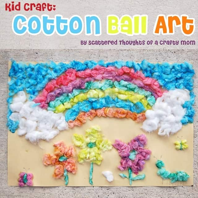 kid craft, cotton ball art