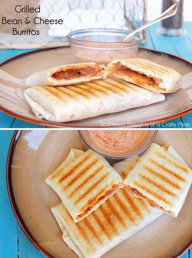 This Grilled Bean and Cheese Burrito is the perfect quick meal on busy nights and the kids go crazy over the crispy flaky tortilla!