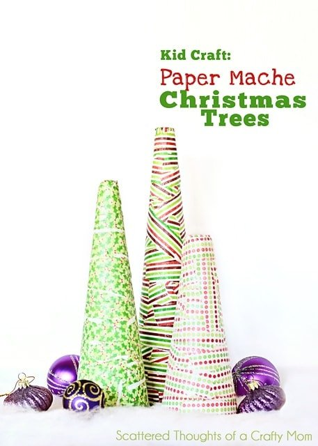 Kid Craft Paper Mache Christmas Trees Scattered