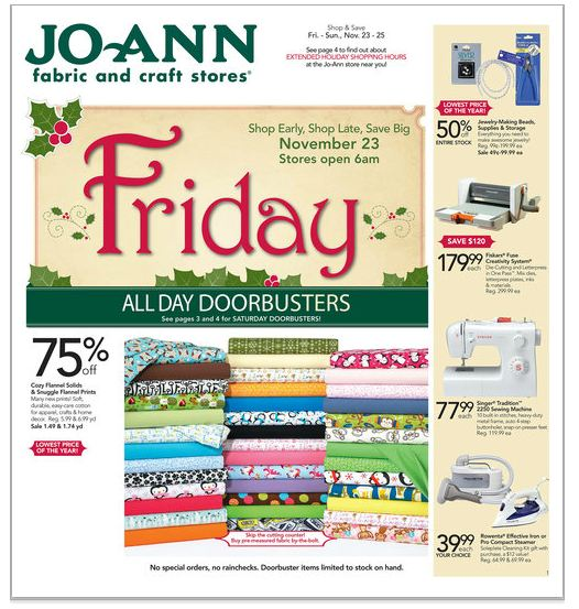 Sneak peak at black friday ad for jo ann fabric and craft for Jo ann fabric and craft coupons