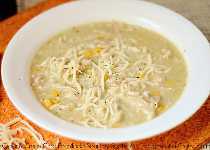 The flavors of green chilies, chicken and creamy, cheesy goodness come together perfectly in the slow cooker to make this Creamy Green Chile Enchilada Soup. The perfect way to warm up on cold winter nights!