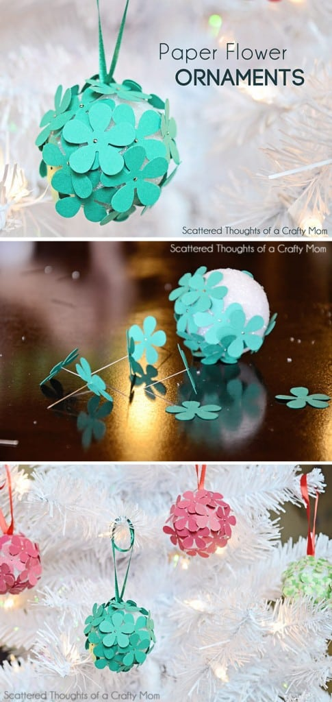 If you have little kids, you know they love paper crafting and poking pins into anything.  Why not combine the two for the perfect Christmas tree ornament craft!