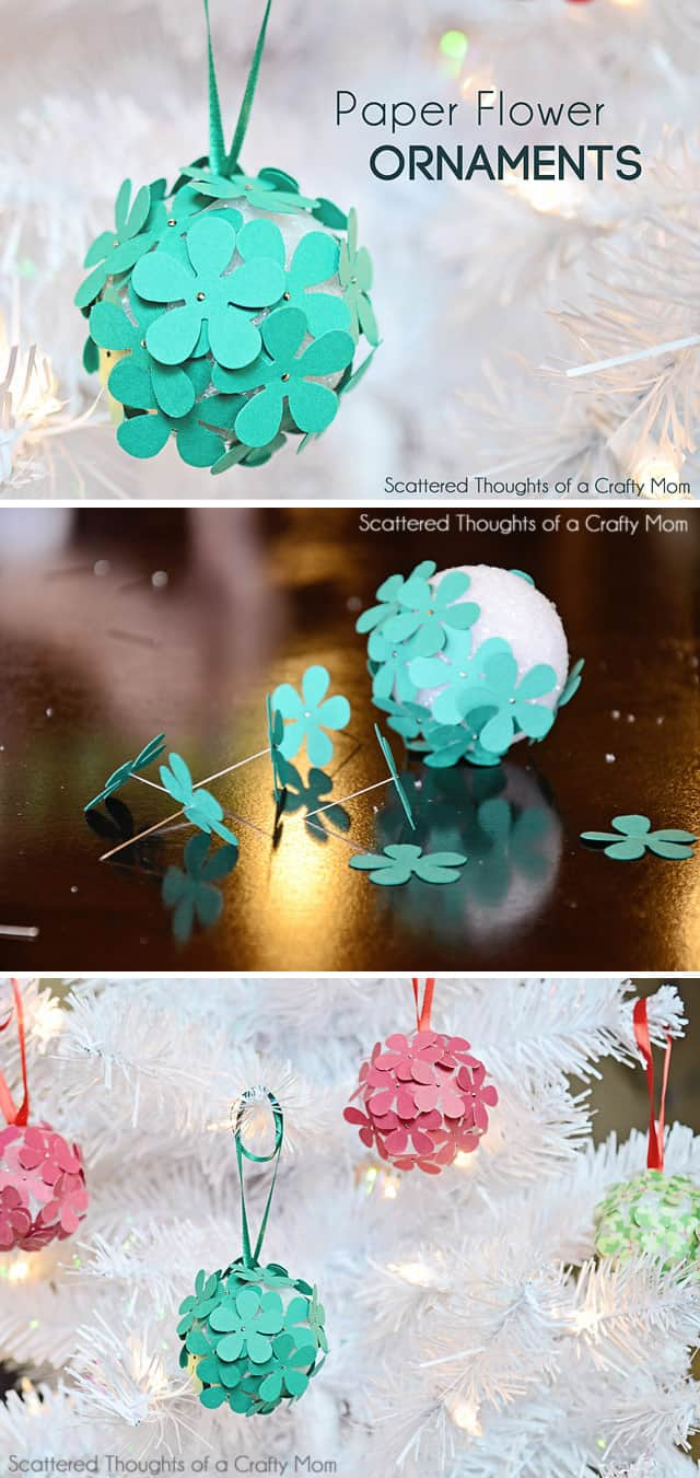Paper Flower Christmas Tree Ornament Craft for Kids:  If you have little kids, you know they love paper crafting and poking pins into anything. Why not combine the two for the perfect Christmas tree ornament craft!