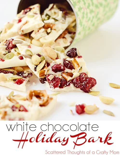 Holiday Bark, made with white candy coating and a festive fruit and nut blend.  Quick and easy for a holiday treat! (and perfect for gift giving)