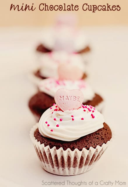 These mini conversation heart chocolate cupcakes are the perfect Valentine's day treat!