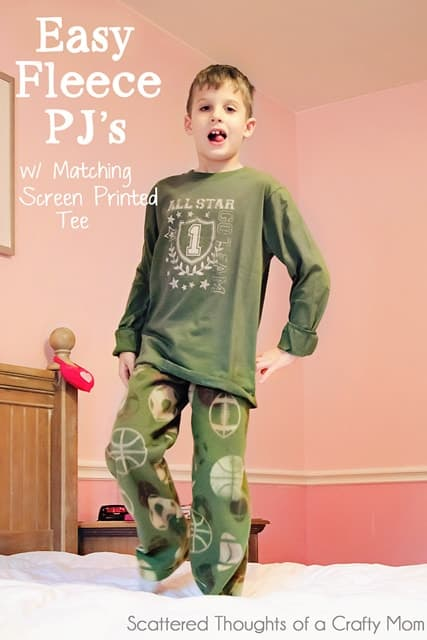 Tutorial: Fleece Pajamas Bottoms and Screen Printed Tee
