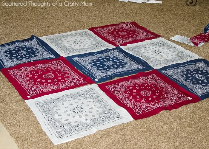 Red White and Blue Picnic Quilt. How to Make a Quilt from Bandanas in just a few hours. (No binding method.)