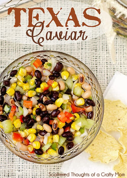 Texas Caviar Recipe is always a hit at potlucks. Peppers, black beans, black eyed peas and corn in a sweet vinegar dressing combine to make a delicious Texas Caviar Dip! (Black Bean and Corn Salsa)