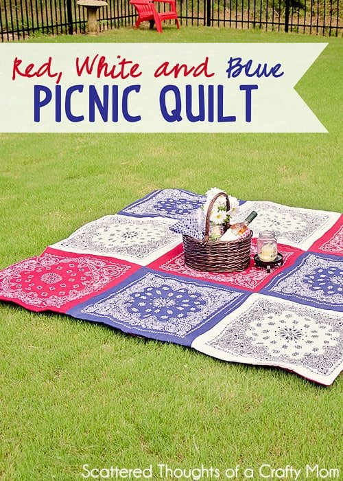 Easy Bandana Quilt Pattern: Red White and Blue Picnic Quilt. How to Make a Quilt from Bandanas in just a few hours with the no binding method.