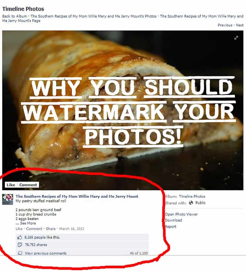 Why bloggers (or anyone) should watermark their photos. Yep, thieves will steal anything!