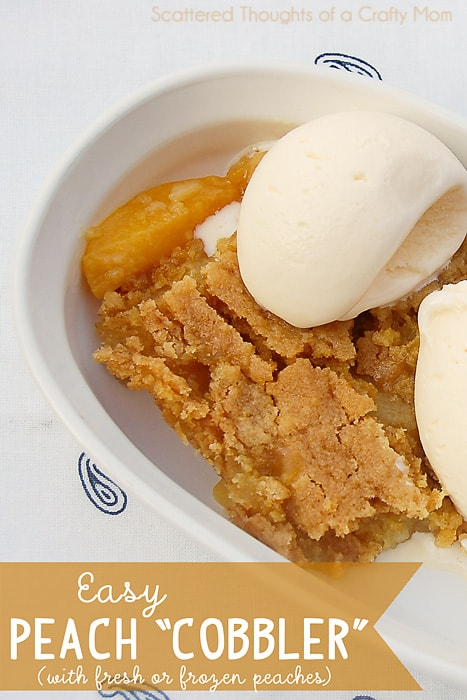 Have fresh or a bag of frozen peaches? Make the easiest Peach Cobbler ever!