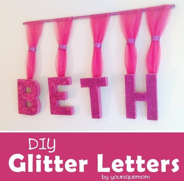 DIY Glitter Letters.  These would be so cute in any little girls room!