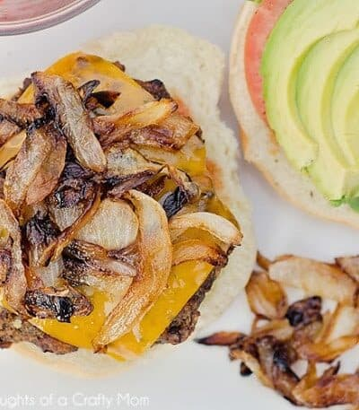 Hatch Green Chile Burgers with Cheddar Cheese, Caramelized Onions and Avocado