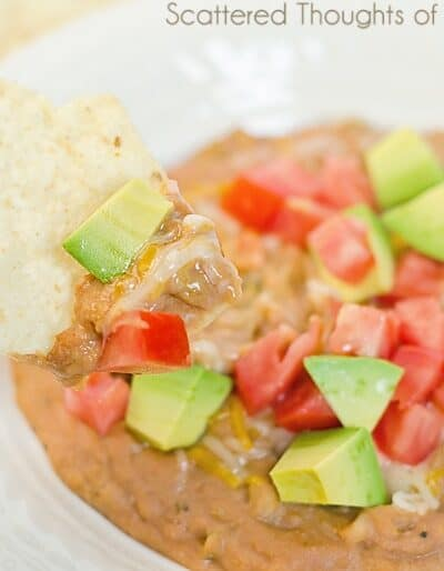 Easy Tex-Mex Bean Dip Recipe, in the slow cooker or on the stove top. Excellent either way!