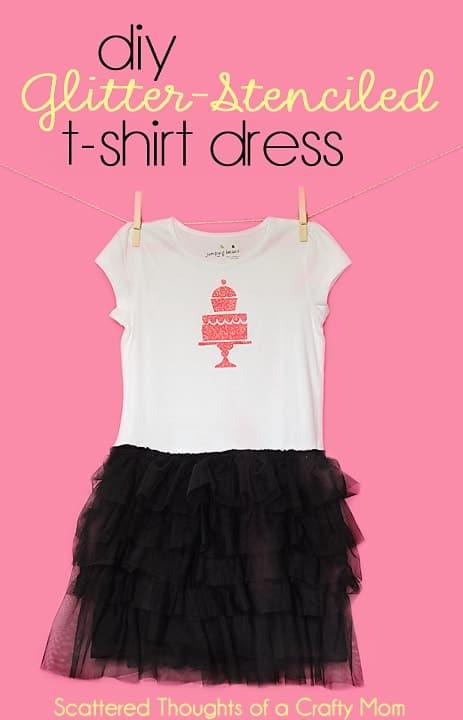 DIY T-shirt Dress Tutorial, using pre-ruffled fabric, stencils and glitter.