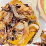 Green Chile burgers with Caramelized onions and peppers