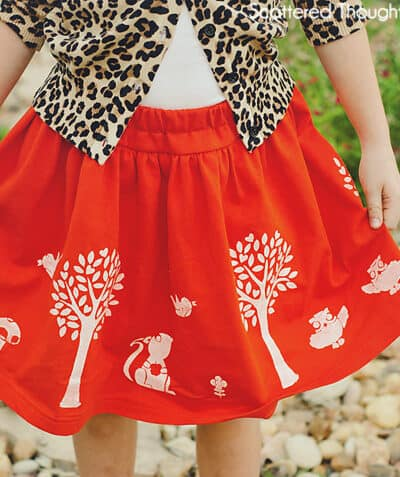 Woodland Creatures Stenciled Skirt
