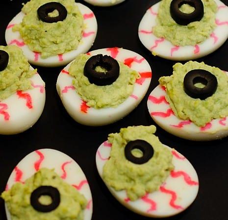 Spooky Monster Eyes (Avocado Deviled Eggs)