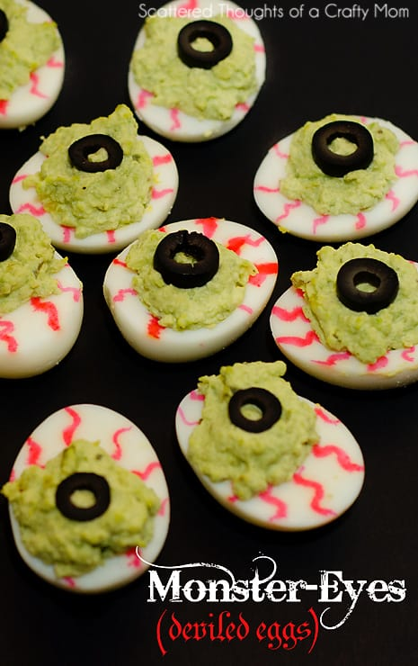 Spooky Monster Eyes Deviled Eggs.  The perfect Halloween party food!
