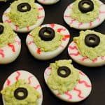 Spooky Monster Eyes Deviled Eggs. The perfect Halloween Deviled Egg Recipe for any Halloween party!