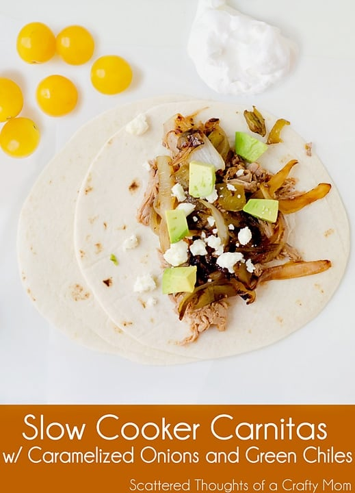 Easy Slow Cooker Carnitas w/ Caramelized Onions and Green Chiles