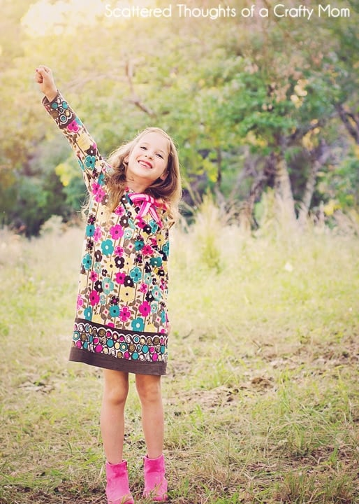 Free Long Sleeve Peasant Dress Pattern, the printable pdf pattern is available in sizes 12 month to 10 yr.