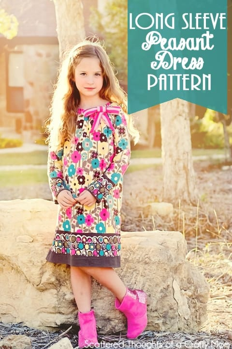 Free Long Sleeve Peasant Dress Pdf Pattern in sizes 12/18 mo to 7.