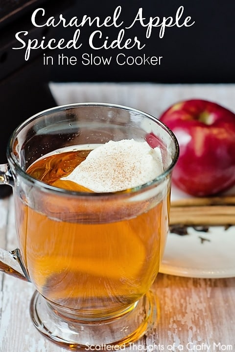 Warm, spicy and delicious, this simple to make Knock-off Starbuck's Caramel Apple Spiced Cider Recipe will keep you feeling toasty on cold winter evenings.